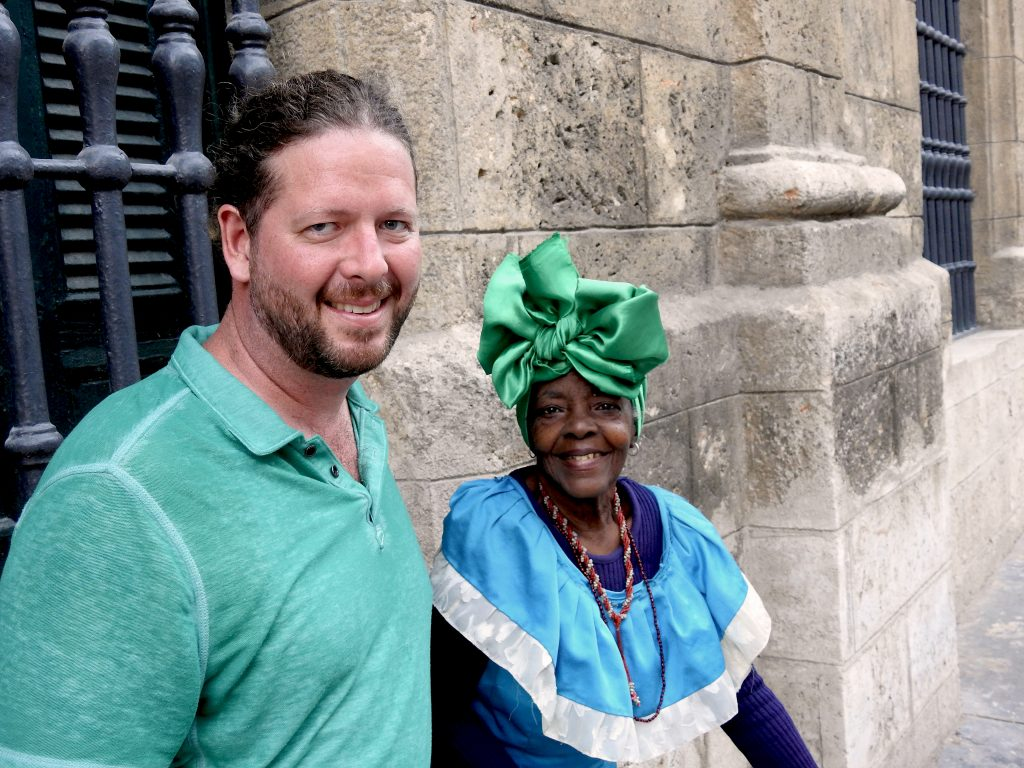 Jeremy Lawhorn, FTI's Vice President, with Cuban woman in Havana.