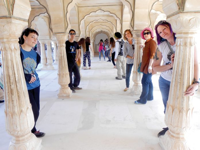 Student group travelling through India.