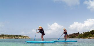 Learning to paddle board in Antigua