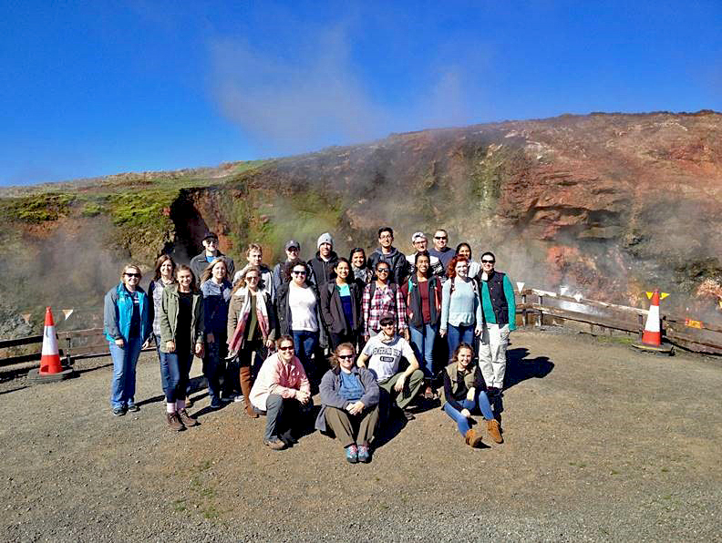 Augusta University students at Deildartunguhver, Europe's most powerful hot spring in Reykholtsdalur, Iceland.