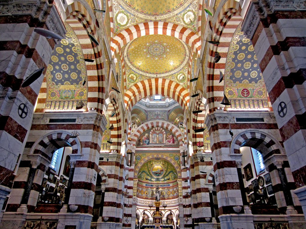 Interior of Notre Dame de la Garde basilica in Marseilles, France