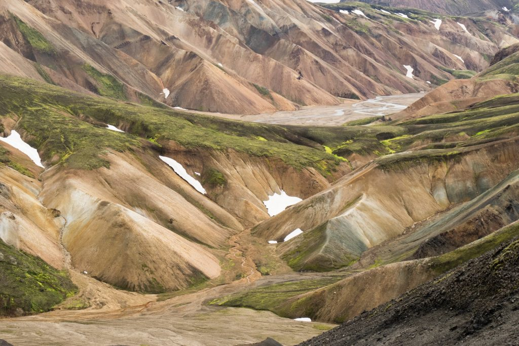 The hills of the Landmannalaugar trail.