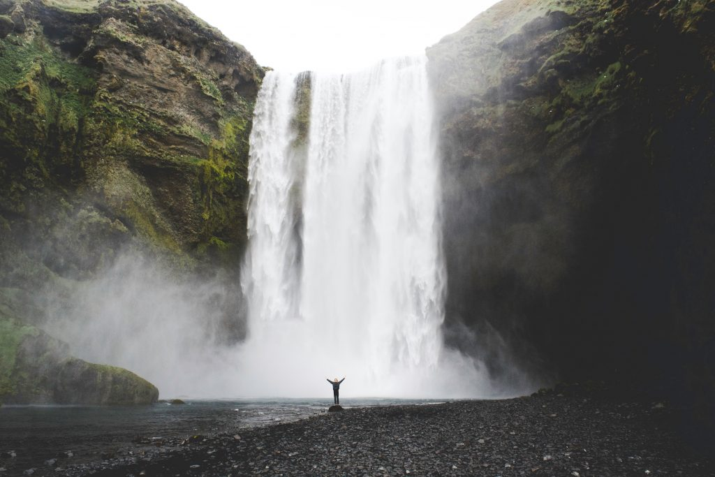 Students standing below Skogafoss in South Iceland.