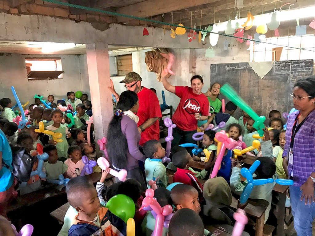 Members from Morning Star Fellowship having fun with kids in Madagascar.