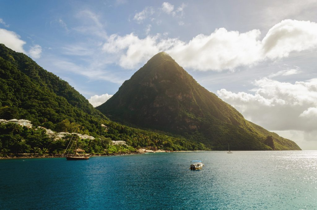 Mountains along the sea in St. Lucia
