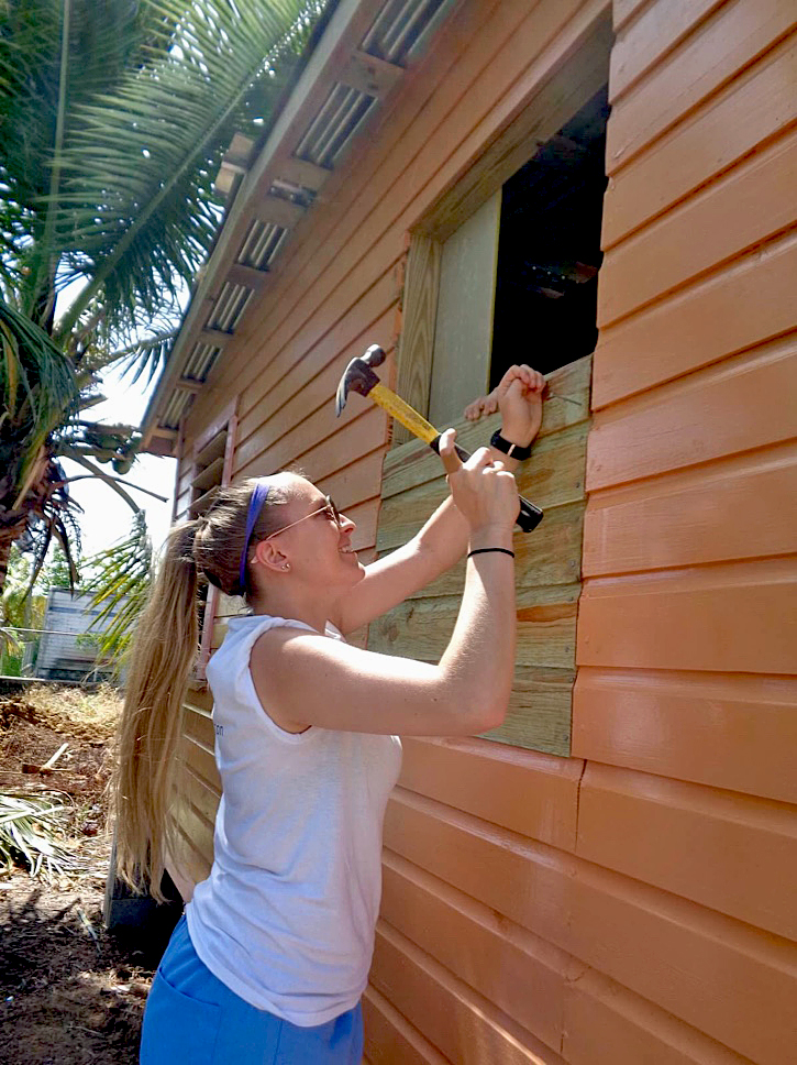 University of Scranton student working on a construction project in Belize.