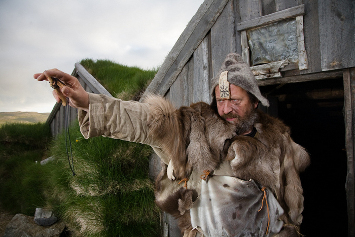 Icelandic man dressed as a Viking.