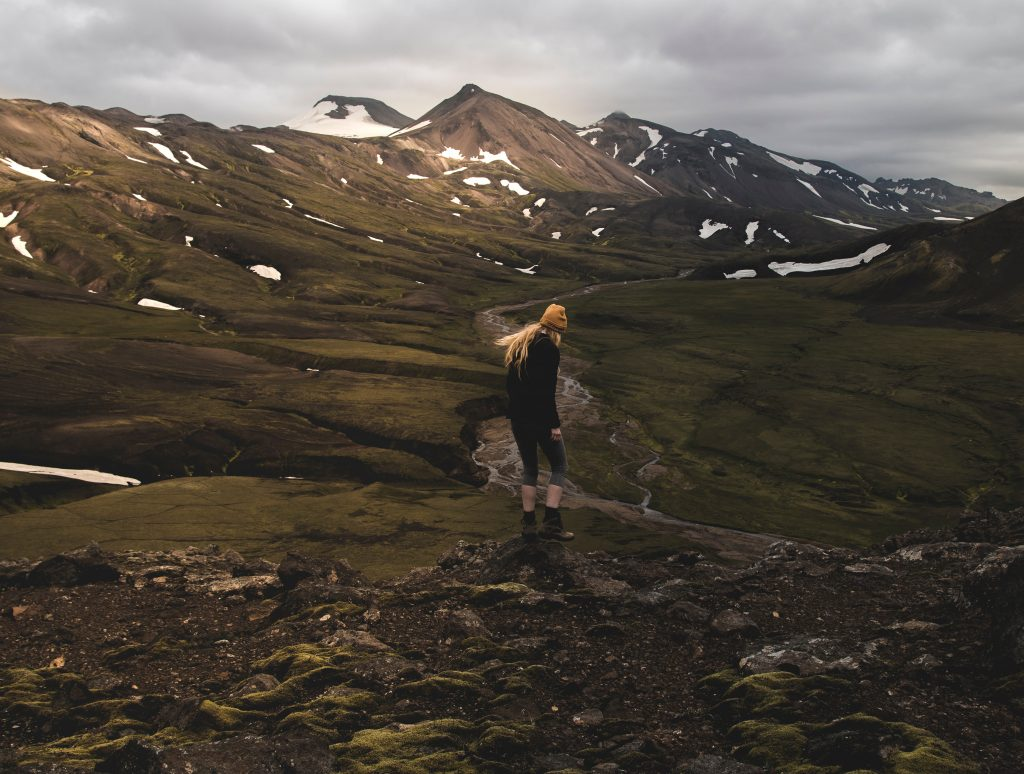 Student hiking in Iceland.