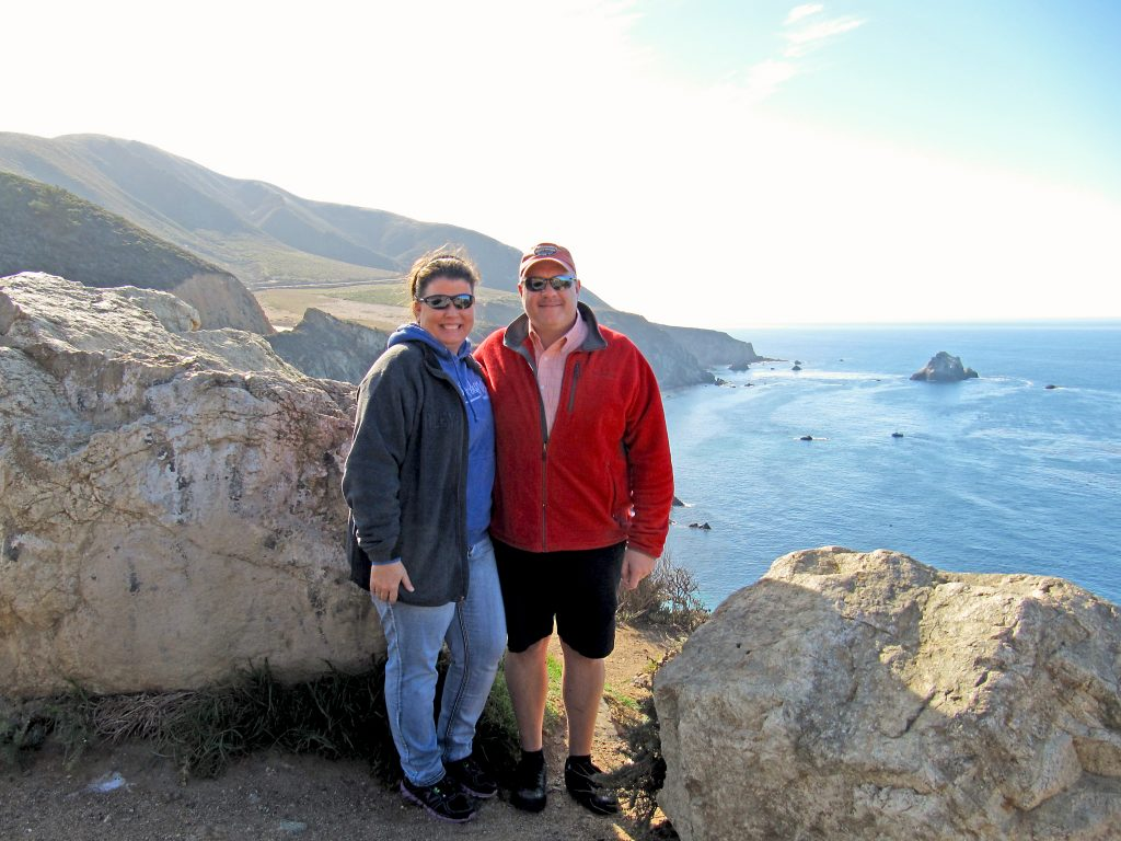 Barbara and her husband Jim on Highway 1 in California.