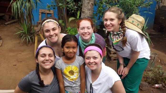 University of Scranton students participating in a service trip to Nicaragua.