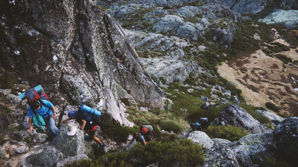 Students hiking up Serra da Estrela in Unhais da Serra, Portugal.