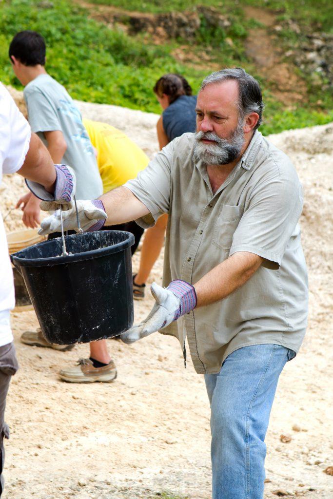 Volunteers serving in South America.