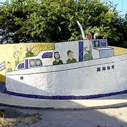 Boat mosaic on a wall in Granma, Cuba