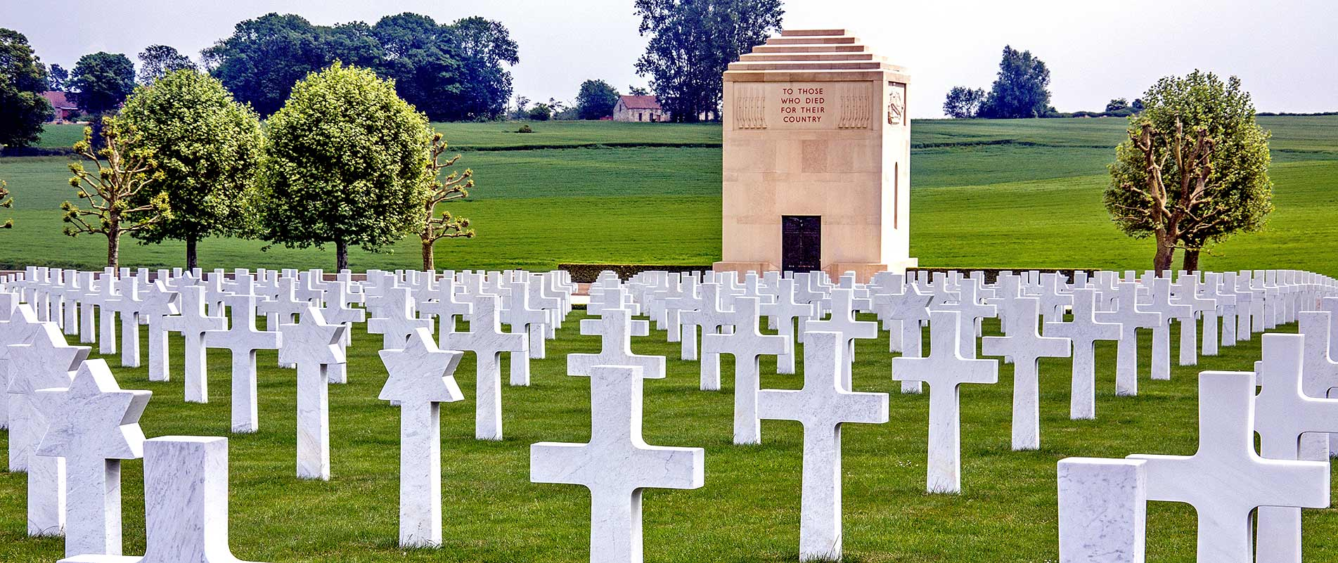 Tombstones in a cemetery for American WWI soldiers in died on the Somme Battlefields in France.