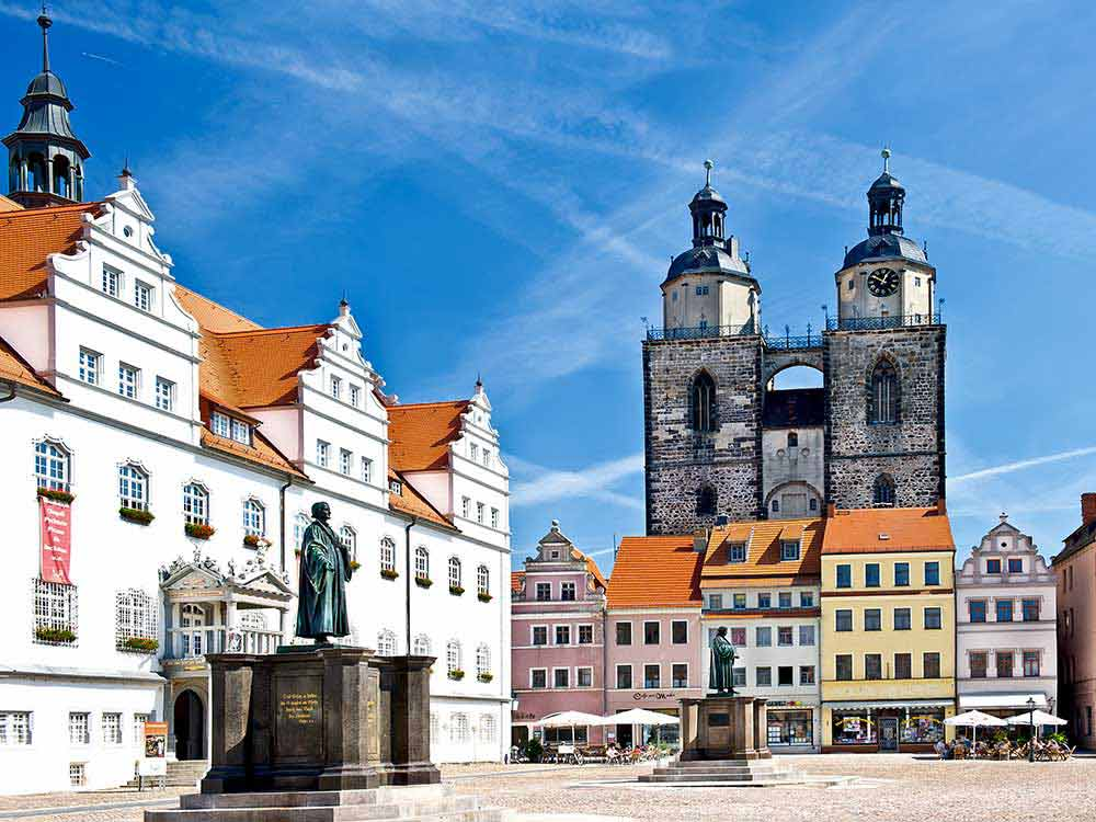 Market Square in Whittenberg, Germany where there is a statue of Martin Luther, the famous reformer who nailed the 95-Theses on the door of Castle Church.