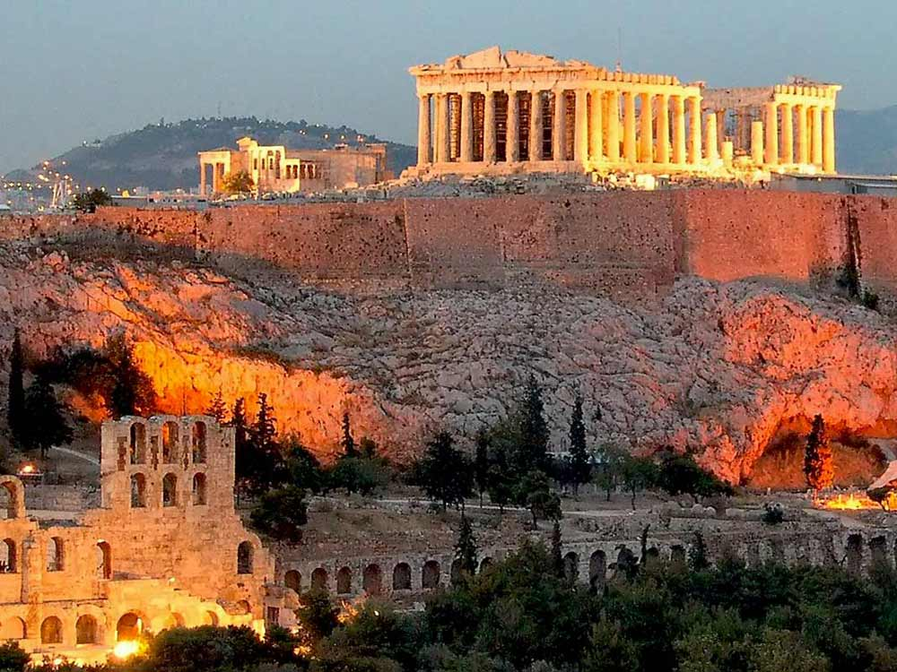 The historic site of the ancient Acropolis in Athens, Greece.