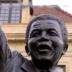 This statue of Nelson Mandela illustrates his importance as a political figure in the South African anti-apartheid revolution.  Faculty-led trips to South Africa are not complete without visiting Robben Island Prison where he was held as a political prisoner.